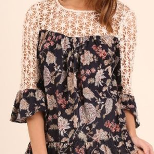 Umgee Floral Print Bell Sleeve Top with Crochet